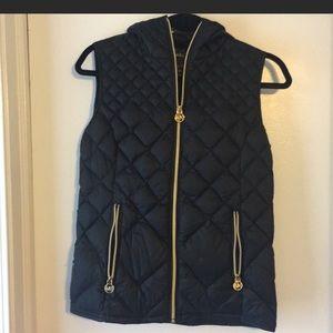 Black Michael Kors puffer vest with hood